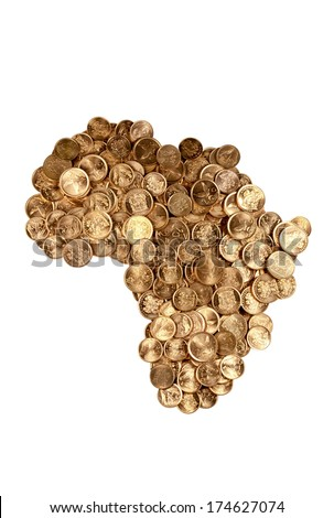 South African coins arranged in the shape of Africa isolated on white - stock photo