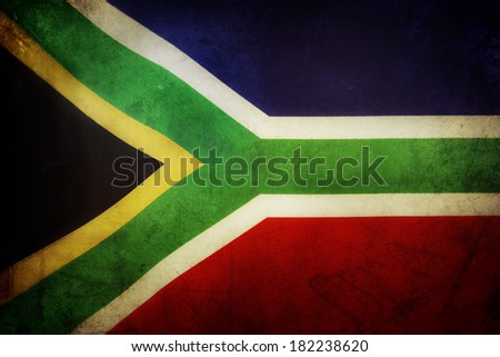 South African flag. Grunge effect - stock photo