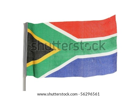 South African flag isolated on white background - stock photo