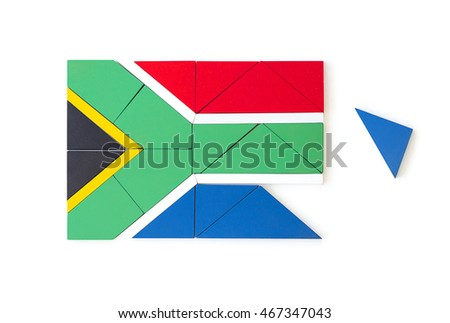 South African flag made from wooden puzzle pieces