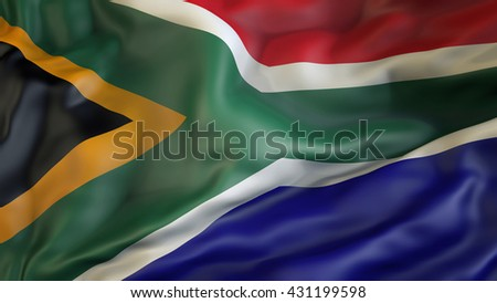 South African flag waving in the wind 3d rendering - stock photo