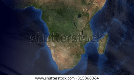 South African Map Space View (Elements of this image furnished by NASA) - stock photo