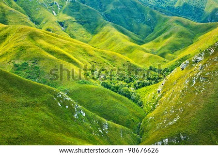 South African mountains beautiful landscape background, green spring aerial view of African continent, scenic wild nature, Outeniqua Pass, ecotourism and travel