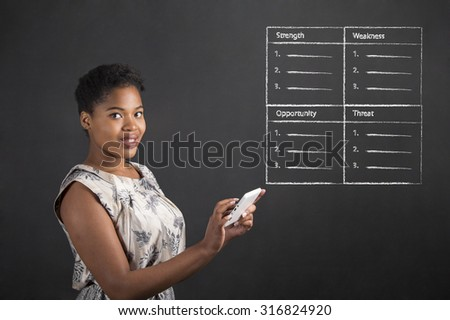South African or African American black woman teacher or student holding a tablet with a SWOT analysis standing against a chalk blackboard background inside - stock photo