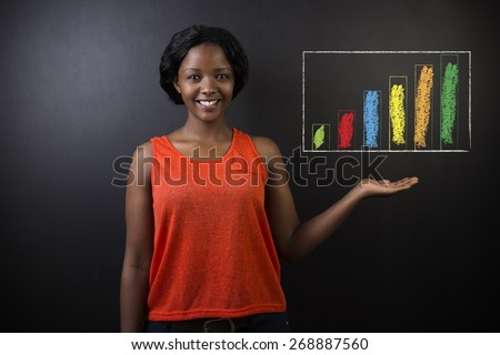 South African or African American woman teacher or student against a dark blackboard background with chalk bar graph or chart - stock photo