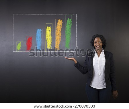 South African or African American woman teacher or student holding out her hand against a blackboard background with a chalk bar graph