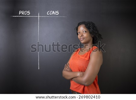 South African or African American woman teacher or student thinking pros and cons decision list chalk concept blackboard background - stock photo