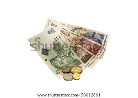South African Rand (ZAR) on White - stock photo