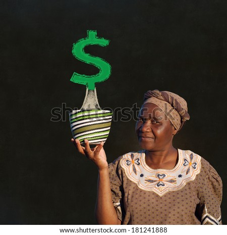 South African Zulu woman basket sales woman blackboard money tree - stock photo