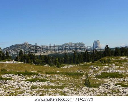 South Alps landscape: Mont Aiguille, Vercors - stock photo