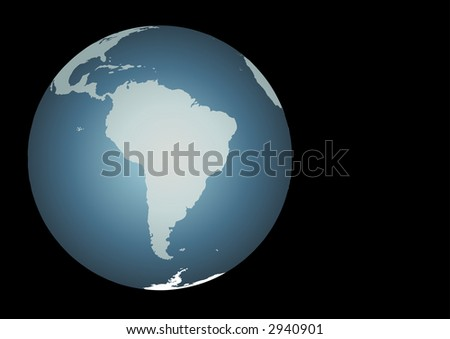 South America.  Accurate map. Mapped onto a globe. Includes Galapagos, falklands,