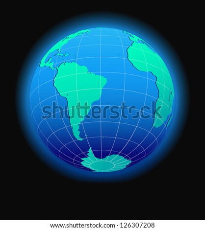 South America and Africa Global World in Space - Raster Version
