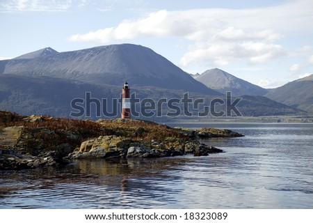 South America. Argentina. Patagonia. Tierra del Fuego. Ushuaia. Beagle Channel. LES ECLAIREURS Lighthouse. - stock photo