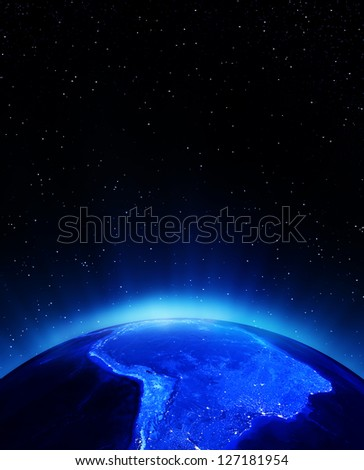 South America at night. Elements of this image furnished by NASA - stock photo