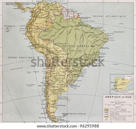 South America at the end of 19th century. By Paul Vidal de Lablache, Atlas Classique, Librerie Colin, Paris - stock photo