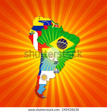 South America,continent, flags, map,and sun background - stock photo
