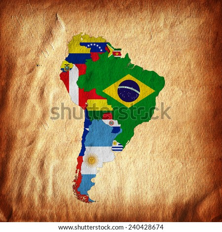South America,continent, flags, map,and wall background - stock photo