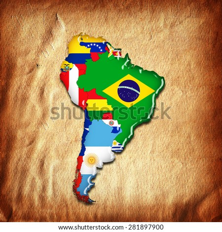 South America,continent, flags, map and wall background