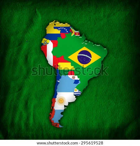 South America,continent, flags, maps, and green wall background - stock photo