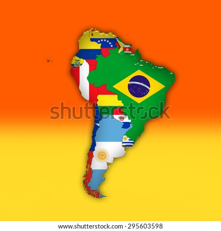 South America,continent, flags, maps, and red yellow color background  - stock photo