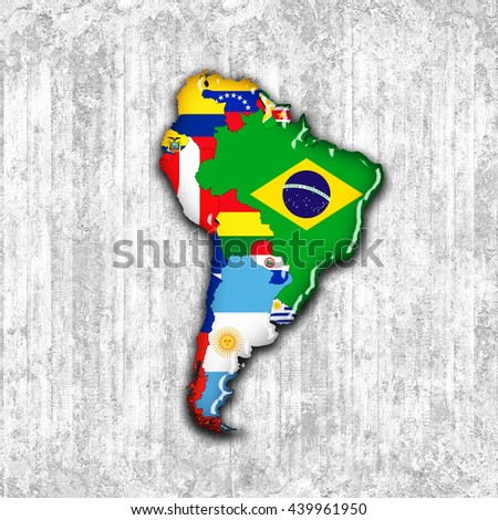 South America,continent,flags,maps and wall background-3D illustration - stock photo