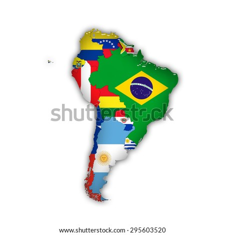 South America,continent, flags, maps, and white background - stock photo