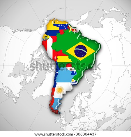 South America,continent,flags,maps and world map background
