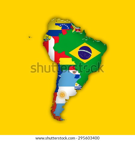 South America,continent, flags, maps, and yellow background - stock photo