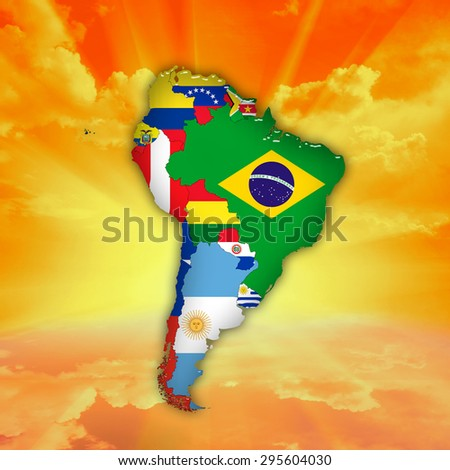 South America,continent, flags, maps,sky,clouds and sun background