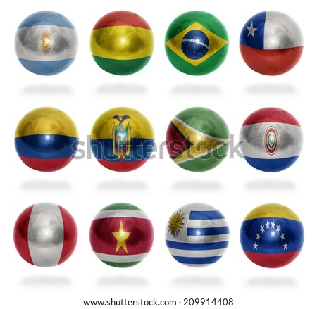 South America countries flag balls on a white background
