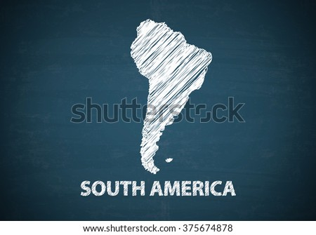 SOUTH AMERICA draw map on blue chalk board , business concept , business idea