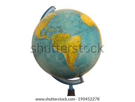 South America earth globe map isolated in white background - stock photo