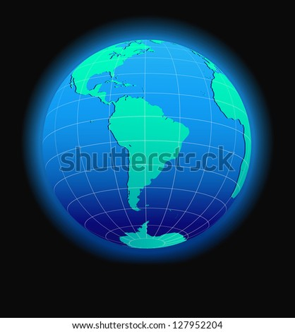 South America Global World in Space - Raster Version - stock photo