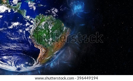 South America Globe Artwork (Elements of this image furnished by NASA) - stock photo