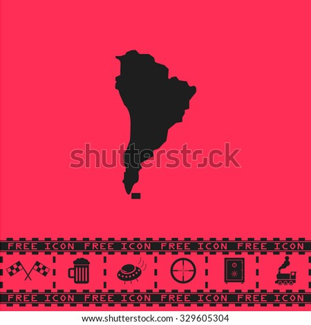 South america map. Black flat illustration pictogram and bonus icon - Racing flag, Beer mug, Ufo fly, Sniper sight, Safe, Train on pink background - stock photo