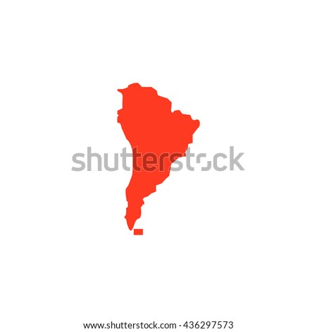 South america map. Color simple flat icon on white background