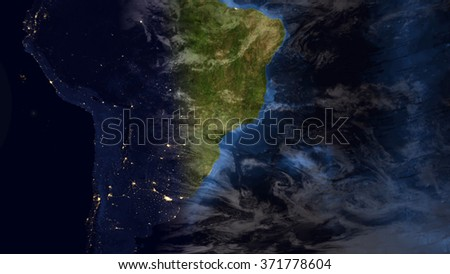 South America Map Composition (Elements of this image furnished by NASA) - stock photo