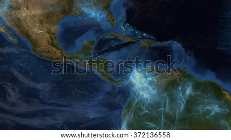 South America Map - Energy Fields - Special Effects Composition (Elements of this image furnished by NASA) - stock photo