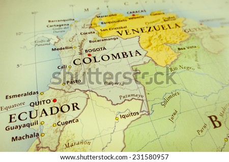 South America map (Geographical view altered on colors/perspective and focus on the edge. Names can be partial or incomplete)