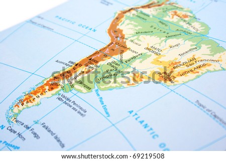 South America map with mountains,rivers. - stock photo