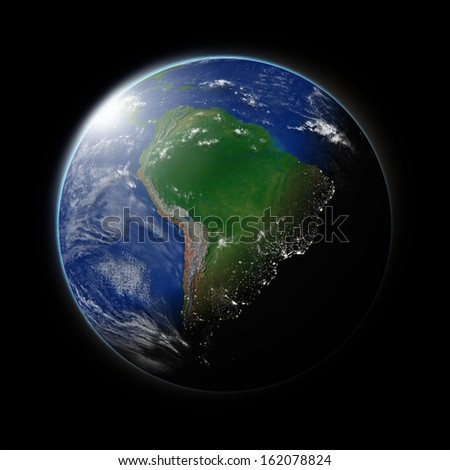 South America on blue planet Earth isolated on black background. Highly detailed planet surface. Elements of this image furnished by NASA.