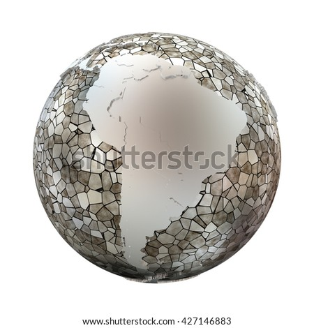 South America on metallic model of planet Earth. Shiny steel continents with embossed countries and oceans made of steel plates. 3D illustration isolated on white background.