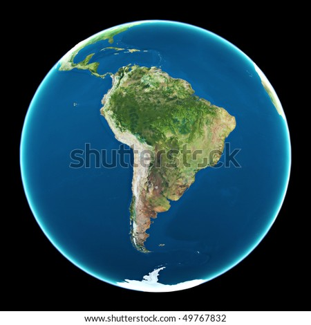 South America on planet Earth - stock photo