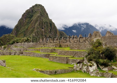 South America, Peru, Machu Picchu the lost ancient incas town on the Inka Trail - stock photo
