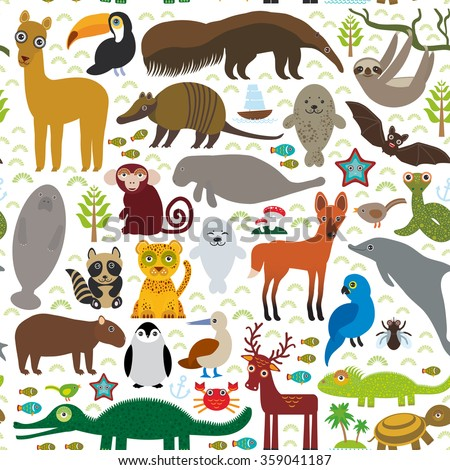 South America seamless pattern sloth anteater toucan lama bat fur seal armadillo boa manatee dolphin Maned wolf jaguar macaw lizard turtle crocodile deer penguin Blue-footed booby Capybara.