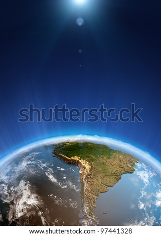 South America space view. Elements of this image furnished by NASA - stock photo