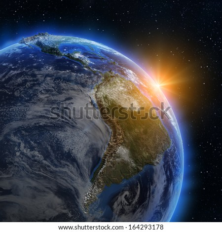 South America sunrise. Elements of this image furnished by NASA - stock photo