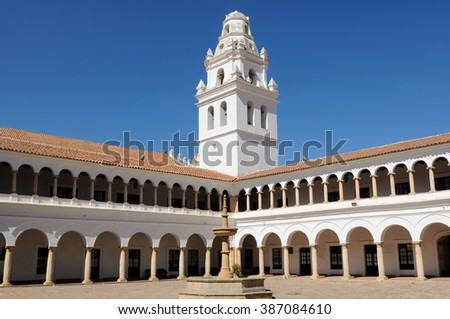 South America, The capital city of Bolivia - Sucre has a rich colonial heritage, evident in its buildings, street-scapes and numerous churches.   San Francisco Xavier University - stock photo