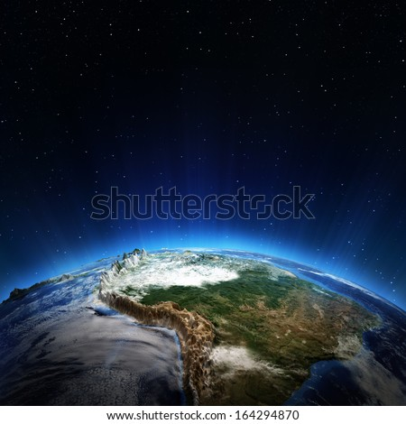 South America weather. Elements of this image furnished by NASA
