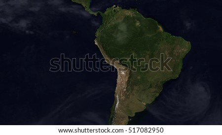 South American Day Map Space View (Elements of this image furnished by NASA)